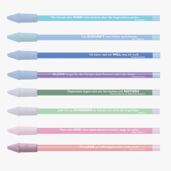 8er-Set Bleistifte Zitate pastell