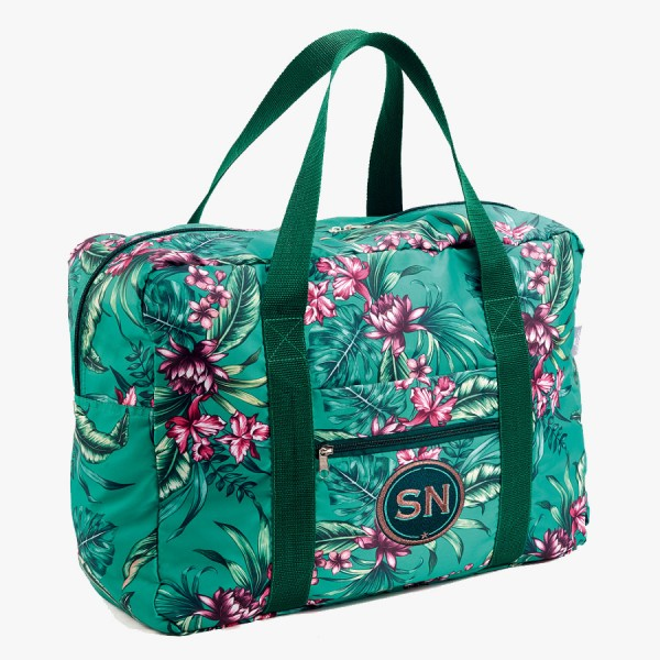 Easy Travel Bag Tropical green mit Initialen-Patch