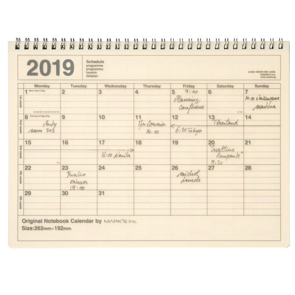 Mark's Kalender 2019 Notebook ivory