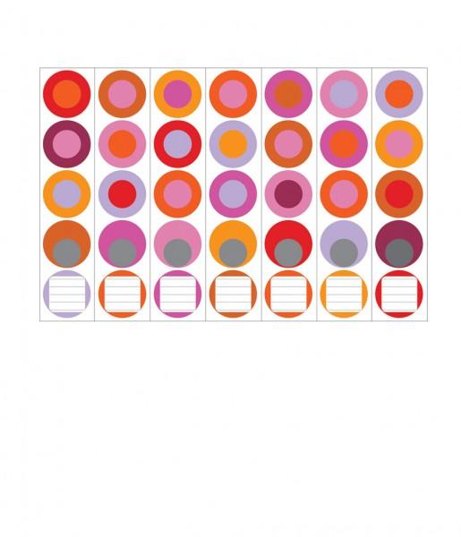 Ordnerrücken, Farbkreise rot