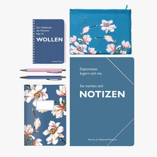 Schreibset Magnolie blau