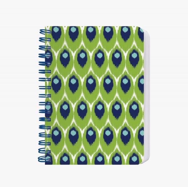 CEDON Ringbuch A6 Ikat grün-blau