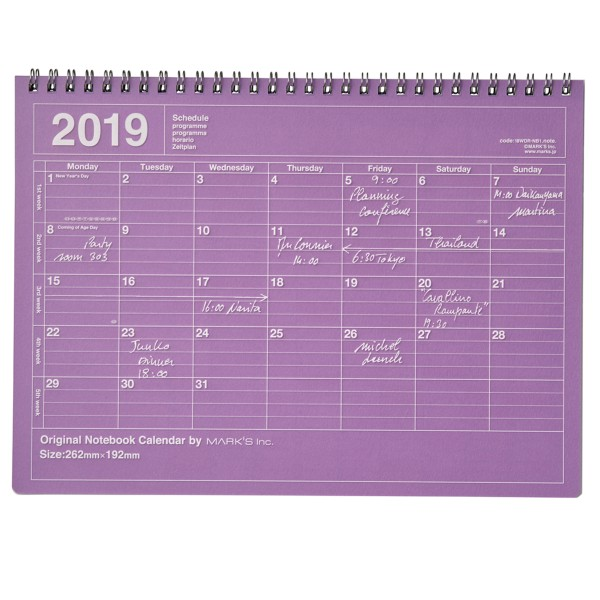 Mark's Kalender 2019 Notebook lila