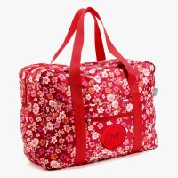 Easy Travel Bag Blüten rot mit Initialen-Patch