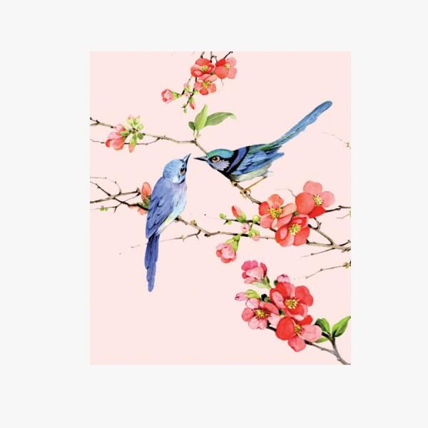Microfasertuch Vögel rosa