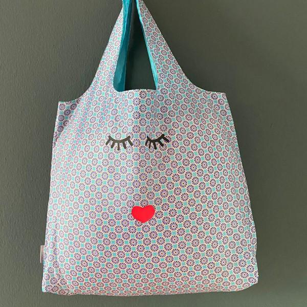 Easy Bag Kachel türkis mit Augen