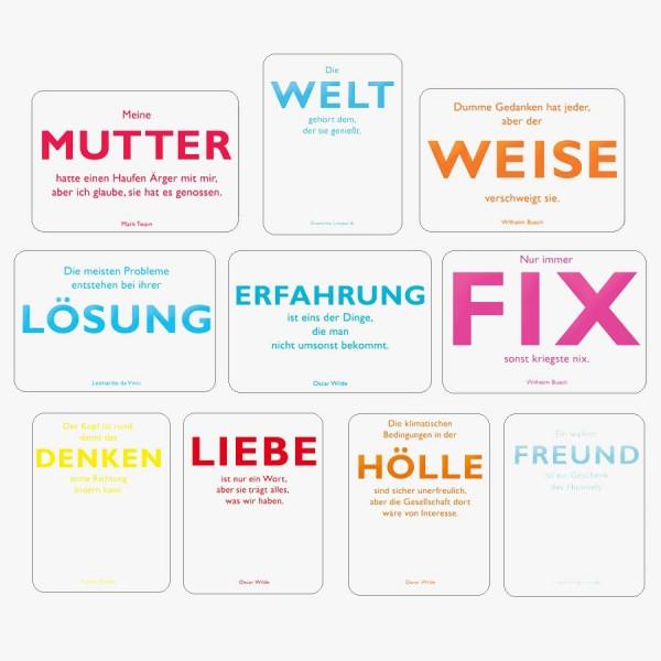 10er-Set Postkarten Zitate weiß