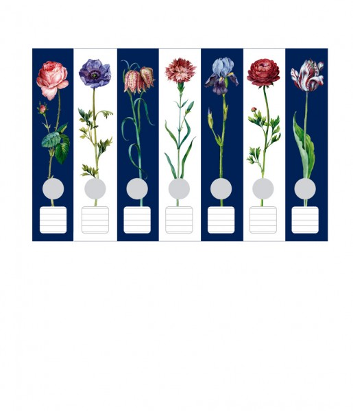 Ordnerrücken, Blumen-Galerie blanc-bleu