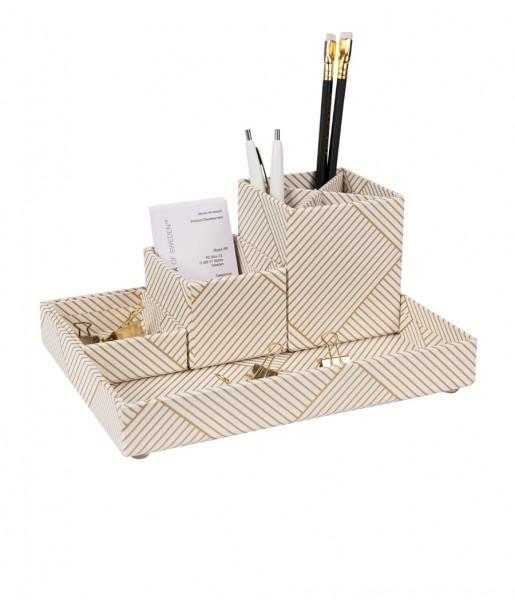 Schreibtischorganizer LENA weiß/gold | Bigso