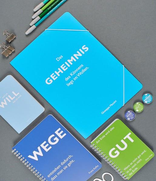 Schreibset Zitate grün-blau
