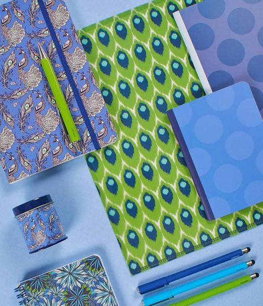 Schreibset Pattern grün-blau