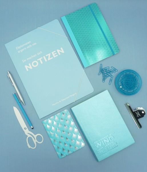 Schreibset Metallic blau