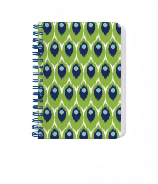 Ringbuch Ikat grün-blau DIN A6 | CEDON