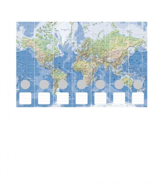Ordnerrücken Weltkarte physisch
